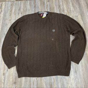 NWT Chaps Brown Woven Crew Neck Sweater Size M